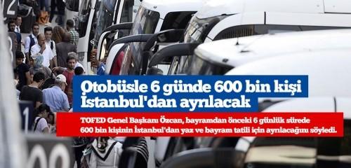 Otobüsle 6 günde 600 bin kişi İstanbul'dan ayrılacak