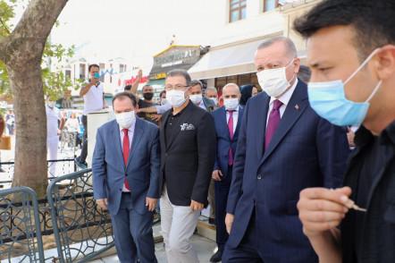Cumhurbaşkanı Erdoğan, doğalgaz müjdesi öncesi Eyüpsultan'ı ziyaret etti